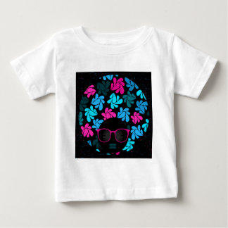 Camiseta Para Bebê Turquesa da diva do Afro & rosa quente