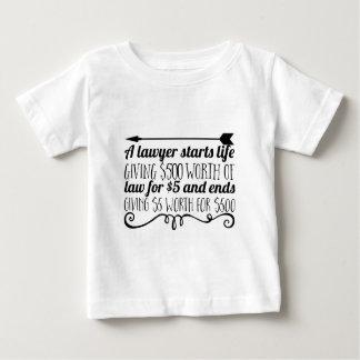 Camiseta Para Bebê Um advogado começa vida que dá a $500 o valor da