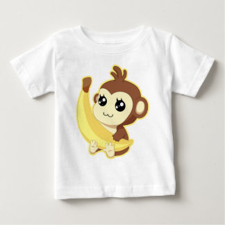 Camiseta Para Bebê Um macaco do muito bonito e kawaii que guardara