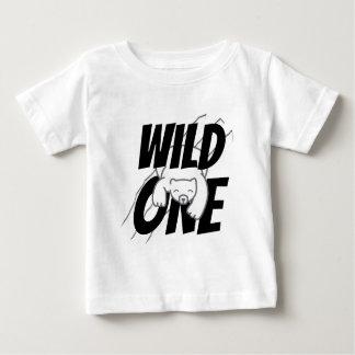 Camiseta Para Bebê Um primeiro aniversário selvagem do urso polar