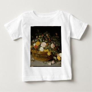 Camiseta Para Bebê Uma cesta das flores - Jan Brueghel o mais novo