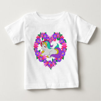 Camiseta Para Bebê unicórnio bonito do arco-íris