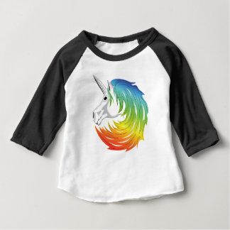 Camiseta Para Bebê Unicórnio da juba do arco-íris