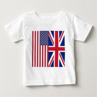 Camiseta Para Bebê Union Jack e bandeiras dos Estados Unidos da