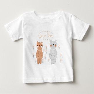 Camiseta Para Bebê Urso de ursinho bonito do casal dos namorados dos