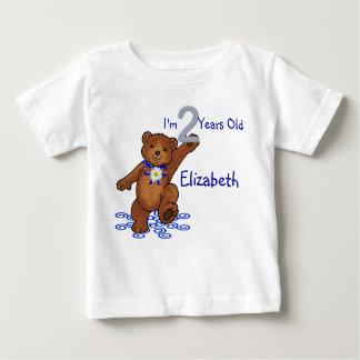 Camiseta Para Bebê Urso de ursinho do segundo aniversário para a