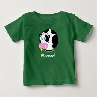 Camiseta Para Bebê Vaca preto e branco dos desenhos animados bonitos