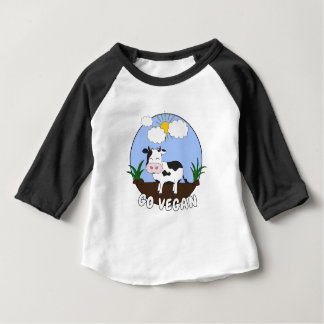 Camiseta Para Bebê Vai o Vegan - vaca bonito