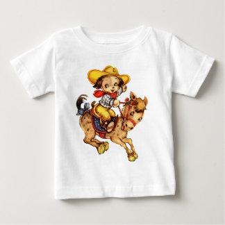 Camiseta Para Bebê Vaqueiro do filhote de cachorro em seu cavalo