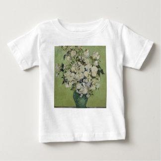 Camiseta Para Bebê Vaso de Vincent van Gogh dos rosas que pintam a