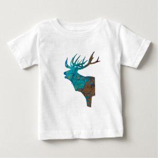 Camiseta Para Bebê veado principal dos cervos nos turqouis e no