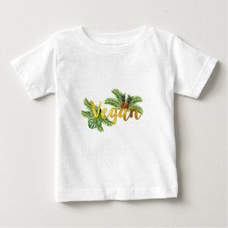 Camiseta Para Bebê Vegan do ouro com abacaxis