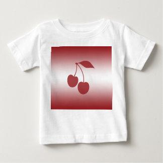 Camiseta Para Bebê Vermelho de cereja ao inclinação branco