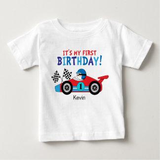 Camiseta Para Bebê Vermelho e azul do carro de corridas do primeiro