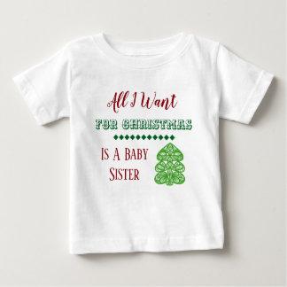 Camiseta Para Bebê Veste do Natal da irmã do bebê