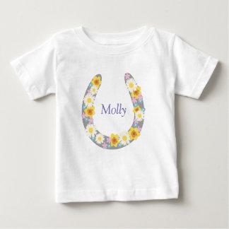 Camiseta Para Bebê Vestuário floral dos calçados do cavalo da