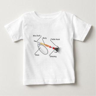 Camiseta Para Bebê Vetor da lâmina da prata da atração da pesca do
