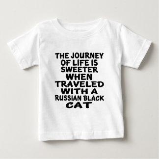 Camiseta Para Bebê Viajado com o gato preto do russo
