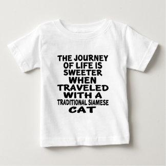 Camiseta Para Bebê Viajado com o gato Siamese tradicional