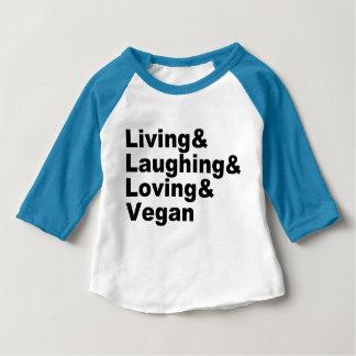 Camiseta Para Bebê Vida e riso e amor e Vegan (preto)