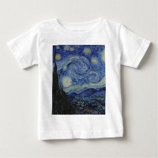 Camiseta Para Bebê Vincent van Gogh - noite estrelado. Pintura da