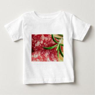 Camiseta Para Bebê Vista macro da salsicha e do bacon