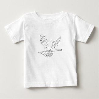 Camiseta Para Bebê Vôo do pombo ou da pomba com desenho do bastão