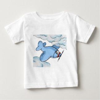 Camiseta Para Bebê vôo plano dos desenhos animados embora as nuvens