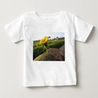 Camiseta Para Bebê Wildflower amarelo que cresce em pedras no por do