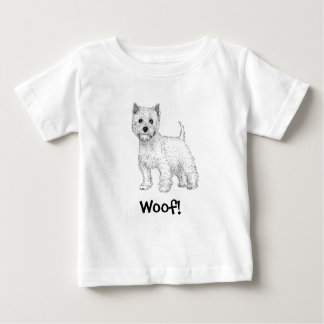 Camiseta Para Bebê Woof! T-shirt do cão, montanhas ocidentais Terrier