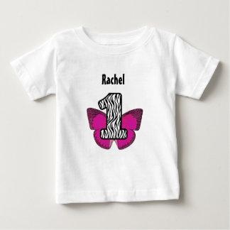 Camiseta Para Bebê Zebra de 1 ano do primeiro aniversário e borboleta