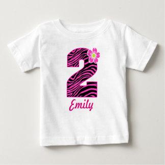 Camiseta Para Bebê Zebra do rosa quente & do preto da menina do