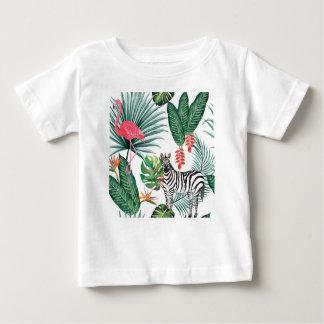 Camiseta Para Bebê Zebra e flamingo tropicais da cópia da aguarela