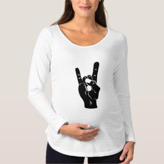 Camiseta Para Gestantes Chifres do diabo do rolo da rocha n
