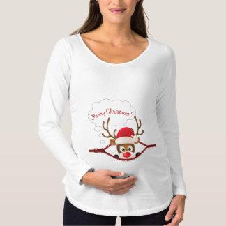Camiseta Para Gestantes Espreite um t-shirt longo de maternidade da luva