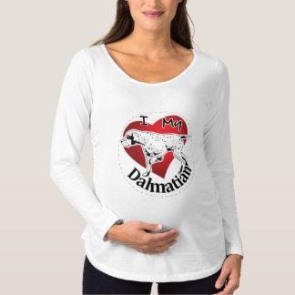 Camiseta Para Gestantes Eu amo meu Dalmatian engraçado & bonito adorável