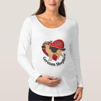 Camiseta Para Gestantes Eu amo meu german shepherd engraçado & bonito