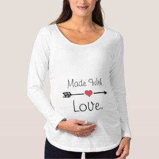 Camiseta Para Gestantes Feito com o tshirt longo de maternidade da luva do
