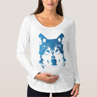 Camiseta Para Gestantes Lobo do azul de gelo da ilustração