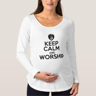 Camiseta Para Gestantes O cristão MANTEM a CALMA E ADORA-A