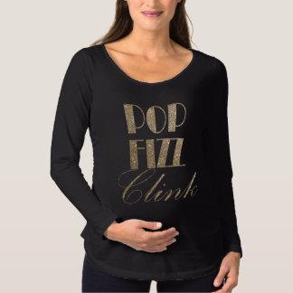 Camiseta Para Gestantes Ouro da véspera de ano novo e Clink preto do Fizz