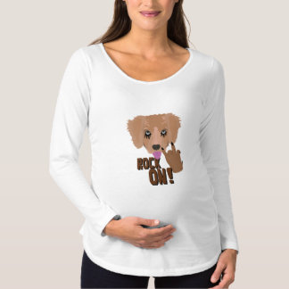 Camiseta Para Gestantes Rocha do filhote de cachorro do metal pesado sobre