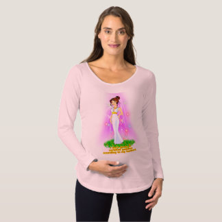 Camiseta Para Gestantes T-shirt de maternidade da deusa (cabelo de Brown)