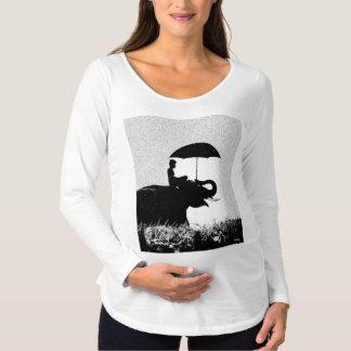 Camiseta Para Gestantes T-shirt longo de maternidade da luva da arte da