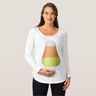 Camiseta Para Gestantes T-shirt longo de maternidade da luva do Dia das
