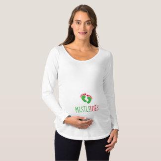 Camiseta Para Gestantes T-shirt longo de maternidade da luva dos viscos