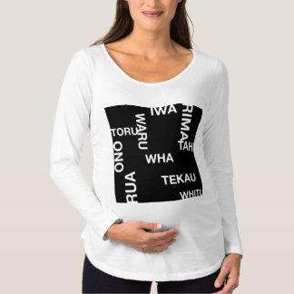 Camiseta Para Gestantes T-shirt longo de maternidade preto LOUCO da luva