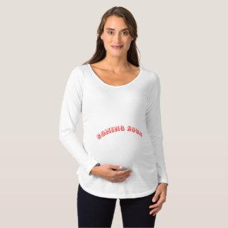 Camiseta Para Gestantes Texto longo de maternidade do t-shirt da luva -