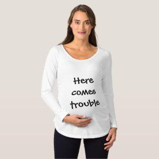 Camiseta Para Gestantes Vem aqui a parte superior da maternidade da