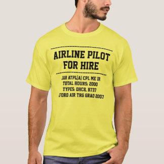 Camiseta para o piloto do aluguer personalize o t-shirt do